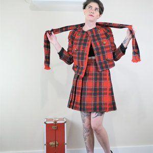 School Girl Plaid Skirt Suit Set